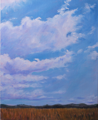 Painting of blue sky studded with clouds over Tamar Wetlands by Stephanie Holm