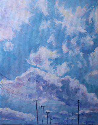 Acrylic painting of a cloud-studded Tasmanian sky by Stephanie Holm