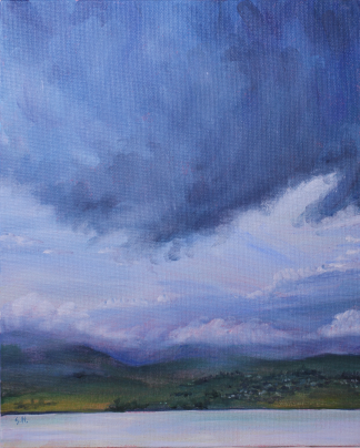 Acrylic painting of a storm brewing over the Tamar Valley by Stephanie Holm