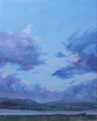 Acrylic painting of stunning clouds over the Tamar Valley in Tasmania by Stephanie Holm