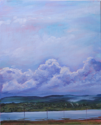 Acrylic painting of clouds over the Tamar River, Tasmania by artist Stephanie Holm