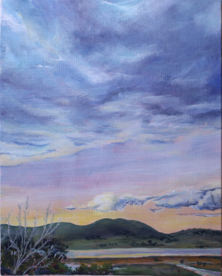 Painting of sunrise and clouds over the Tamar Valley Tasmania by Stephanie Holm
