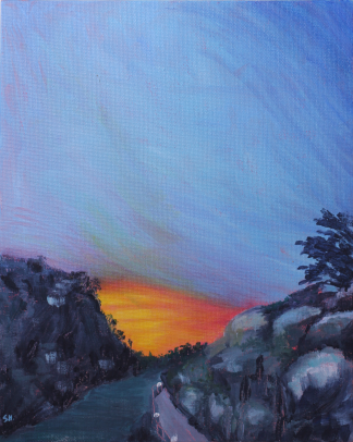 Painting of sunset over Cataract Gorge Tasmania by Stephanie Holm