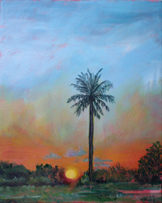 Painting of the sunset behind the dunes at Mindil Beach Darwin by Stephanie Holm