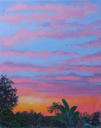 Painting of a pink and purple sunset by Stephanie Holm